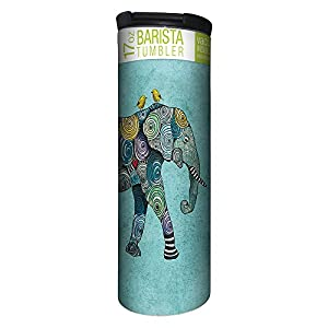 Tree-Free Greetings Elephant and Birds Blue Vacuum Insulated Travel Coffee Tumbler, 17 Ounce Stainless Steel Mug, Gift for Animal Lovers (BT21871)
