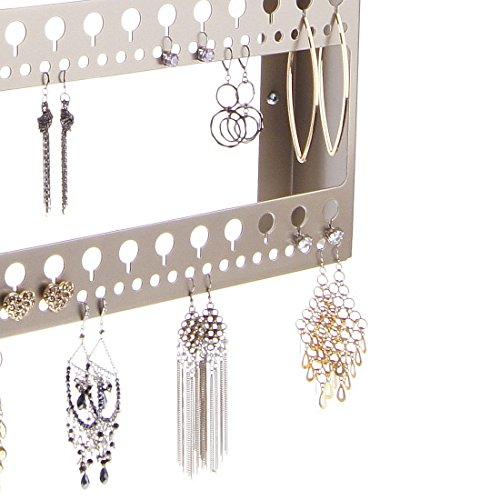 Angelynn's Wall Large Long Earring Holder Organizer Jewelry Storage Rack with Shelf, Nichole Satin Nickel Silver by Angelynn's (Image #3)