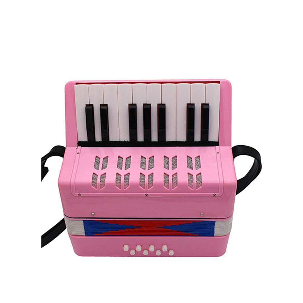WSHA Accordion,17-Key 8 Bass Toy Accordion Solo And Ensemble Instrument Musical Instrument For Early Childhood Teaching,Rhythm Band Toy,Pink