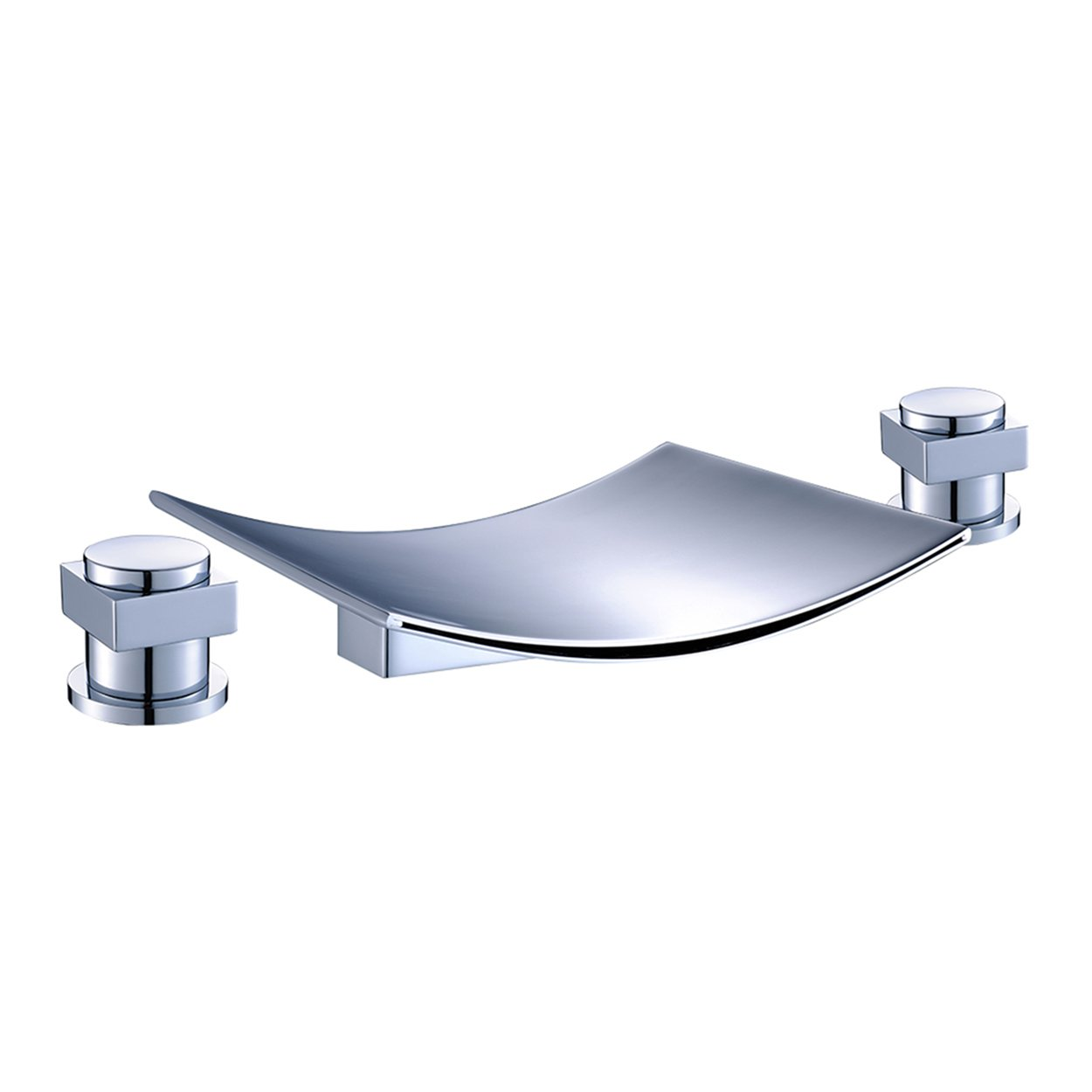 FLG Deck Mount Two Handle Widespread Waterfall Bathroom Bath Tub Faucet Chrome 7.5 inch Spout