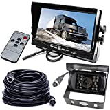 DC 12-24V Vehicle Backup Camera Monitor System, Waterproof 18LEDs Night Vision Reversing Reverse Rear View Camera with 10M 4 Pin Aviation Cable +7' TFT LCD Car Monitor for Large Truck Bus RV Trailer