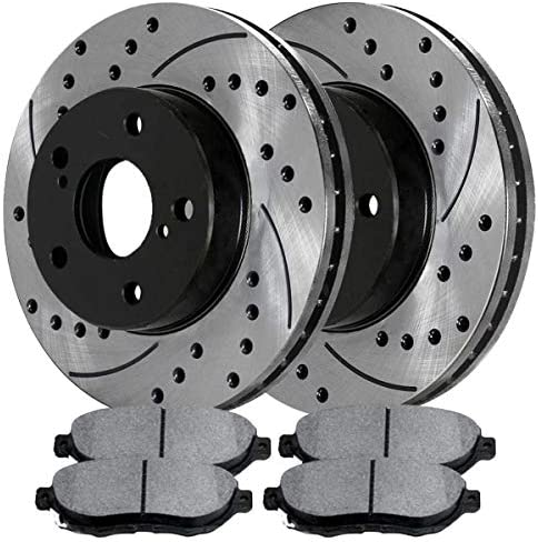 Auto Shack SCDPR41365413651044 Front Performance Drilled and Slotted Brake Rotors and Ceramic Brake Pads
