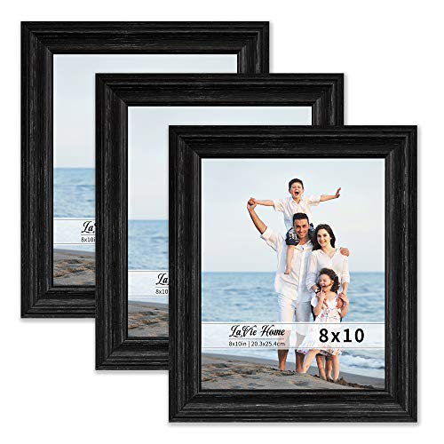 LaVie Home 8x10 Picture Frames (3 Pack, Black Wood Grain) Rustic Photo Frame Set with High Definition Glass for Wall Mount & Table Top -
