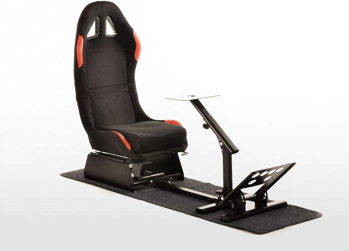 Fk Gamesitz Spielsitz Rennsimulator Egaming Seats Suzuka Stoffbezug Mit Teppich Schwarz Rot Auto
