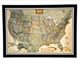 THE #1 SELLING push pin map of the United States Nat Geo's Exec. US Map FRAMED 47 X 34'' Pin board MAP with Black Satin Finish Frame is the best push pin travel map for home office or educational use