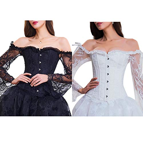 (lttcbro Women's Sexy Off Shoulder Lace Corset Victorian Steampunk Corset Black+White Set of 2 XL)