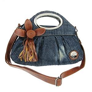 Donalworld Women Cute Flower Jeans Denim Tote Handbags