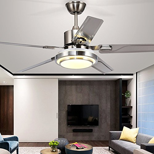Andersonlight Modern LED Ceiling Fan 5 Stainless Steel Blades and Remote Control 3-Light Changes Indoor Mute Energy Saving Fan Chandelier for Home Decoration (48-In)