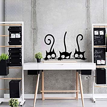 Amazon.com: Batop Lovely Three Black Cat DIY Wall Stickers - Animal Room Decoration - Personality Vinyl Wall Decals: Home & Kitchen