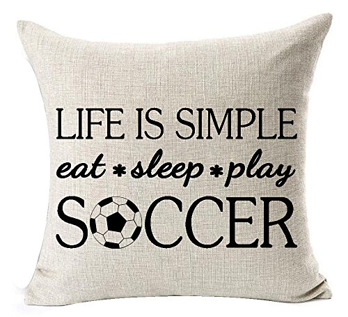 Andreannie Sports Series Funny Life is Simple Eat Sleep Play Soccer Design Throw Pillow Case Cushion Cover Personalized Home Office Decorative Square 18 X 18 Inches