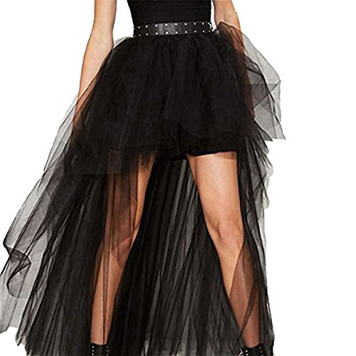 RGA Dotted Lace Long Skirt Asymmetrical Gothic Victorian Steampunk Goth (XL(Waist 76cm))