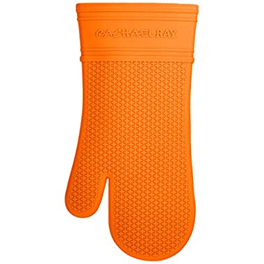 Rachael Ray Silicone Kitchen Oven Mitt with Quilted Cotton Liner, Orange