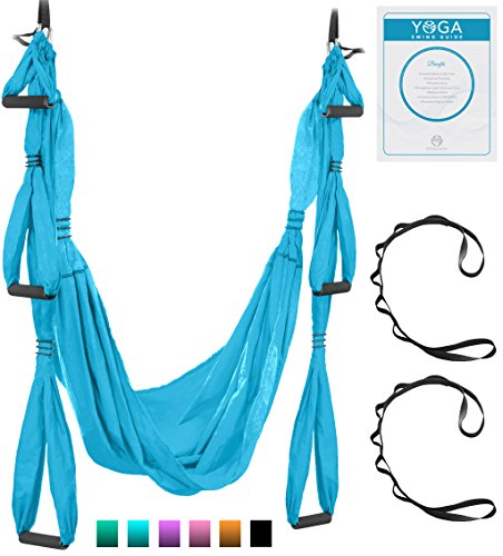 UpCircleSeven Aerial Yoga Swing - Ultra Strong Antigravity Yoga Hammock/Sling for Air Yoga Inversion Exercises - 2 Extensions Straps Included (Blue) ()