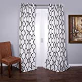 Lambrequin Casa Flocked Curtain Panel, 96″ For Sale
