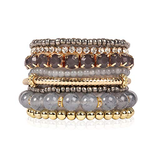 RIAH FASHION Multi Color Stretch Beaded Stackable Bracelets - Layering Bead Strand Statement Bangles (Original - Grey, 7)