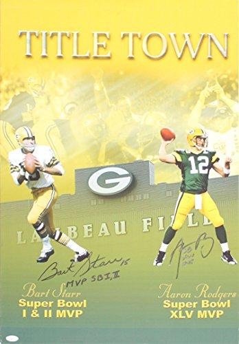 - Bart Starr MVP SB I, II & Aarron Rodgers XLV MVP Autographed 20x30 Canvas (JSA)