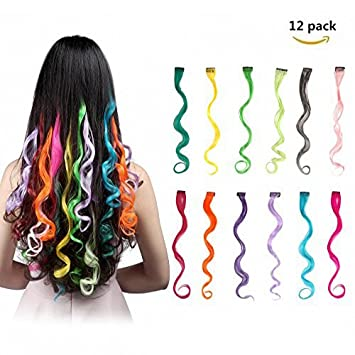 Amazon feshfen 12 pcs 12 colors full color curly wave clip feshfen 12 pcs 12 colors full color curly wave clip on in hair extensions hair pieces pmusecretfo Image collections