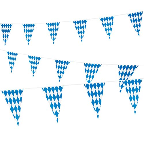 118 Feet Oktoberfest Bavarian Pennant Banner - Hanging Check Flag German Themed Party Decoration -