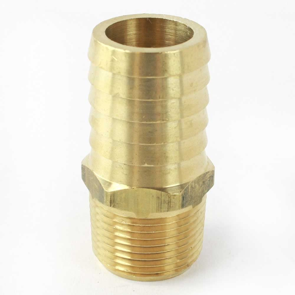 Interstate Pneumatics FM99-7 Brass Hose Barb Fitting, Connector, 1 Inch Barb X 3/4 Inch NPT Male End