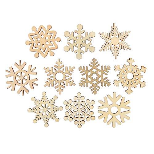 Holibanna circulos de madera inacabados adornos de copo de nieve de navidad diy formas de madera redondas naturales piezas de madera en blanco rebanadas centros de mesa 20/50/100 piezas