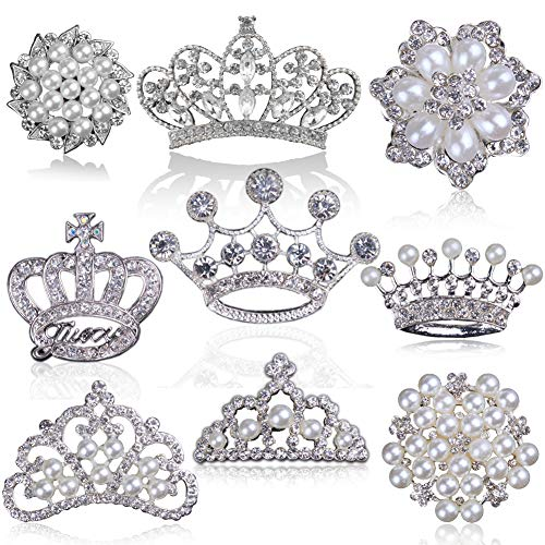 Rhinestone Pearl Embellishments, Big Flatback Rhinestone Buttons, for Pearl Brooch, Pearl Flower Crown Tiara for Wedding Party Home Decoration and DIY Crafts (Silver, Mixed 9 Styles, Pack of 9PCS)]()