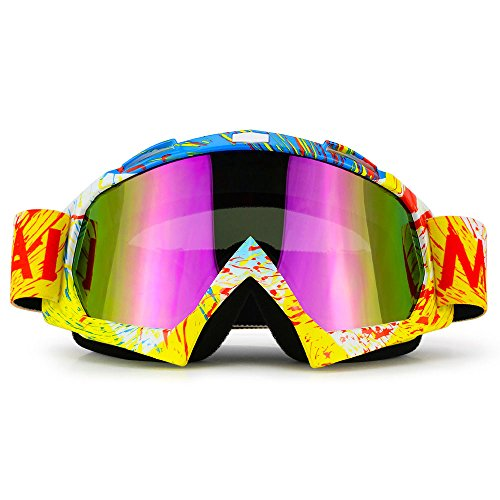 Motorcycle Goggles Dirt Bike ATV Motocross Mx Goggles Glasses for Men Women Youth Kids (8 Color) - Glasses Tint Into Sunglasses