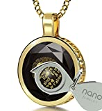 Gold Plated I Love You Necklace 24k Gold Inscribed in 120 Languages on Black Cubic Zirconia Pendant, 18''