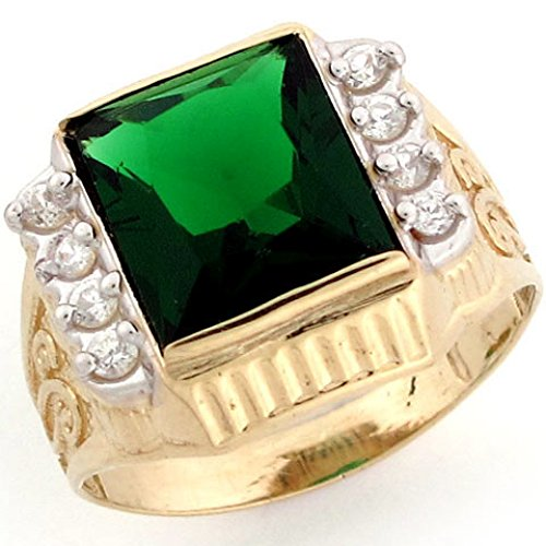 Jewelry Liquidation 10k Gold Synthetic Emerald May Birthstone CZ Mens Ring