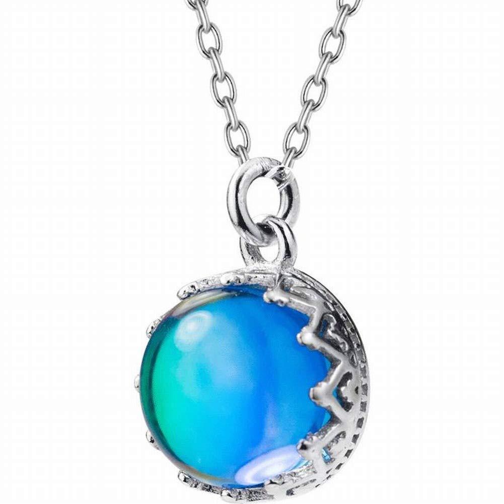 Thumby Collar de Moda Occidental para Mujer S925 Aurora Plateado Collar Hembra Pequeñ o Fresco Azul Degradado Redondo Temperamento Cadena de Claví cula Corta, S925 Cadena de Plata engastada