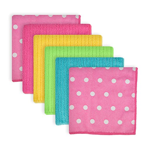 DII Microfiber Multi-Purpose Cleaning Cloths Perfect for Kitchens, Dishes, Car, Dusting, Drying Rags, 12x12, Set of 6 - Pink Dots