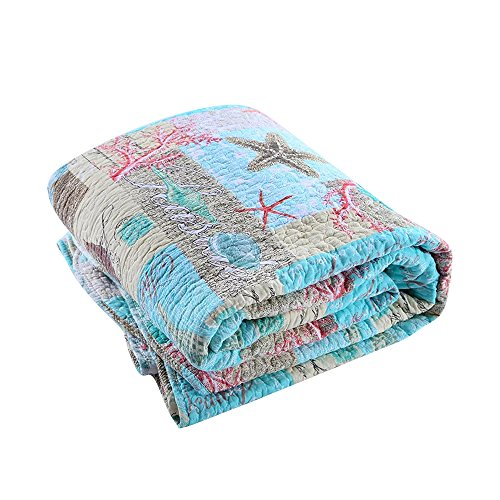 MKXI Ocean Bedding Comforter Sets King Size(Including 2 Matching Pillowcases), Beach Themed Cotton Bedspread/Quilt/Blanket by MKXI