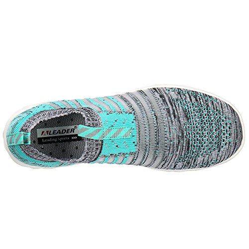 ALEADER Damen Hydro Lite-Knit Slip-On Wasserschuhe Grün Grau