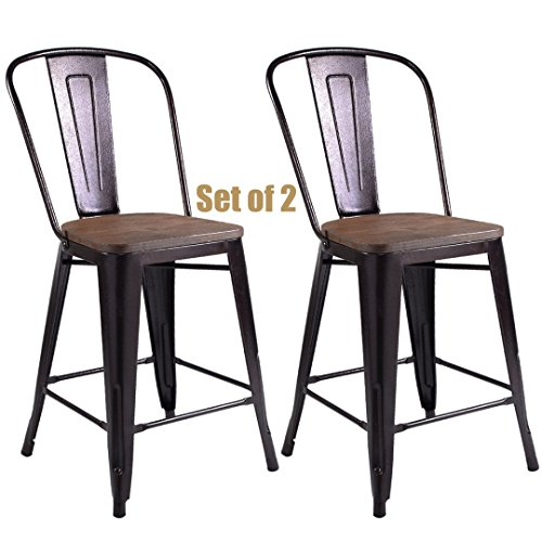 Vintage Antique Style Metal Steel Rustic Wood Bar Stools School Office Counter High Back Chairs Sturdy Frame Scratch Resistant - Set of 2 Copper #750a Las Vegas Steel Stool