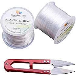 PandaHall Elite 0.8mm 2 Rolls Elastic Stretch Polyester Jewelry Bracelet Crystal String Cord 60m per Roll with Sewing Fishing Scissors Snips Beading Thread Cutter Embroidery Nippers