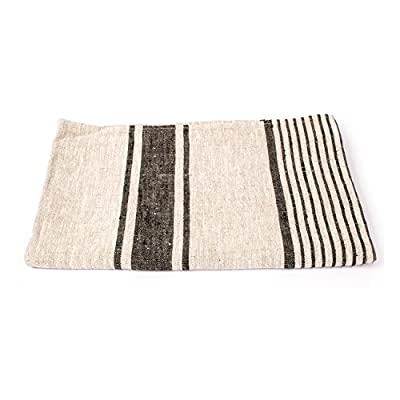 LinenMe Provence Bath Towel, 26''X 51'', Black Natural Striped, 100% European Linen 1PCS - Linen has the ability to absorb moisture better than cotton and will dry more quickly. With a sensual touch and soft absorbency this will last for years Bath towel has a loop, size: 26'' X 51'', color: Black also available in blue, red, beige, machine washable. Produced in Europe from 100 percent linen - bathroom-linens, bathroom, bath-towels - 510oisEJICL. SS400  -