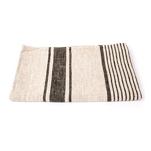 LinenMe Provence Bath Towel, 26''X 51'', Black Natural Striped, 100% European Linen 1PCS
