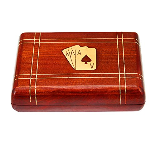 Unique Fathers Day Gifts Handcrafted Classic Wooden Playing Card Holder Deck Box Storage Case Organizer With 2 Sets of Premium Quality 'Ace' Playing Cards Anniversary Housewarming Gifts For Him Her