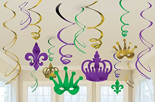 Mardi Gras Mask Design (Vibrant Mardi Gras Party Crown and Mask Swirl Ceiling Decorating Kit, Foil, Pack of 12)
