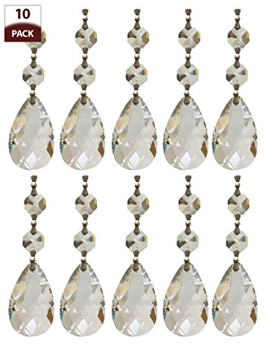 Royal Designs Replacement Chandelier Crystal Prism Clear K9 Quality Tear Drop Almond Cut with Chrome Connectors and 2 Octogan Crystal Bead Pack of ()