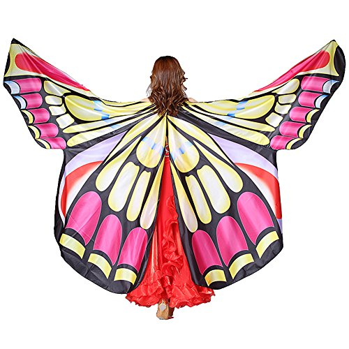 MUNAFIE Belly Dance Wings Halloween Christmas Party Colorful Butterfly Wings Performance Costumes Y1