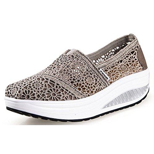 On De Été Respirant Slip Femmes Sport Baskets Gris Platform Souliers Compensées En Pour Casual Shapechaussures Dentelle Chaussures Femme XdaFqwX