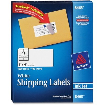 """Avery Mailing Label - 2"""" Width x 4"""" Length - 1000 / Box - Re"""