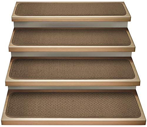 House, Home and More Set of 12 Attachable Indoor Carpet Stair Treads - Toffee Brown - 8 Inches X 30 Inches