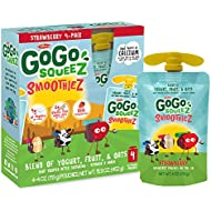GoGo squeeZ smoothieZ, Strawberry, 4 Ounce (24 Pouches), Gluten Free Yogurt, Fruit, & Oat Pouches, Individual Snacks for Kids, No Preservatives, Reclosable, BPA Free Convenient Pouches