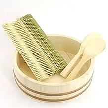 BambooMN Brand - 13.0 Sushi Oke Tub (Hangiri) - 5 Pieces Sushi Making Accessory Pack by BambooMN