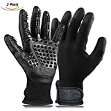 QHWLKJ Pet Grooming Glove, Hair Removal Mitts, Horse Glove, Cat Mitts Dog Grooming Brushes Gloves Works as Grooming, Bathing, Shedding, Combing and Massage Gloves for Dogs/Cats/Horse (black)