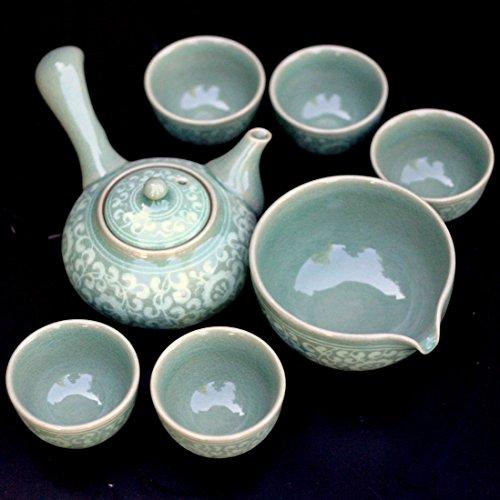 Celadon Teaset Korean 'Arabesque' Gift Boxed / Teapot+5 Cups+sookwoo / Hand-made