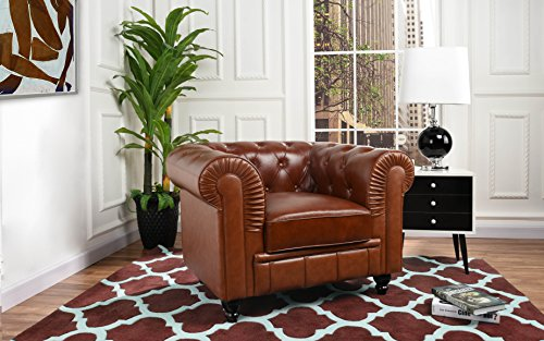 (Divano Roma Classic Chesterfield Scroll Arm Tufted Leather Match Accent Chair (Light Brown))
