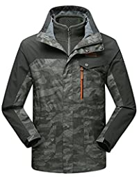 Men's 3-in-1 Camouflage Windbreaker Jacket with Linner Outdoor Sporting Outwear