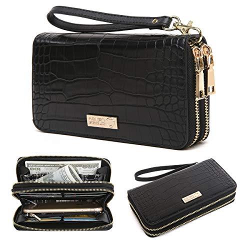 - CrossLandy Women Men RFID Blocking Double Zip Leather Wallet Clutch Wristlet